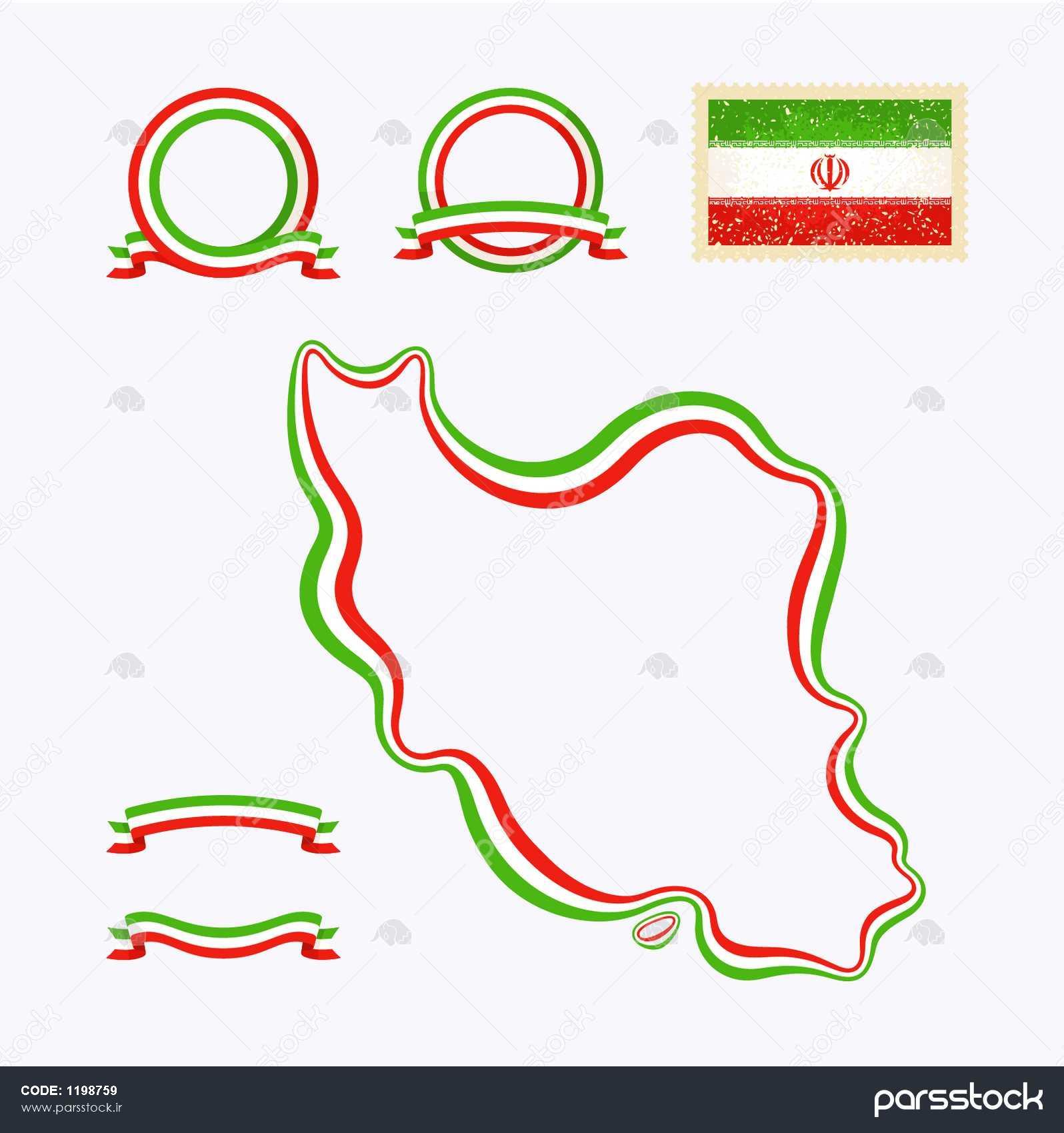 طرح نقشه ایران مرز نوار در رنگ های ملی مشخص شده اند این