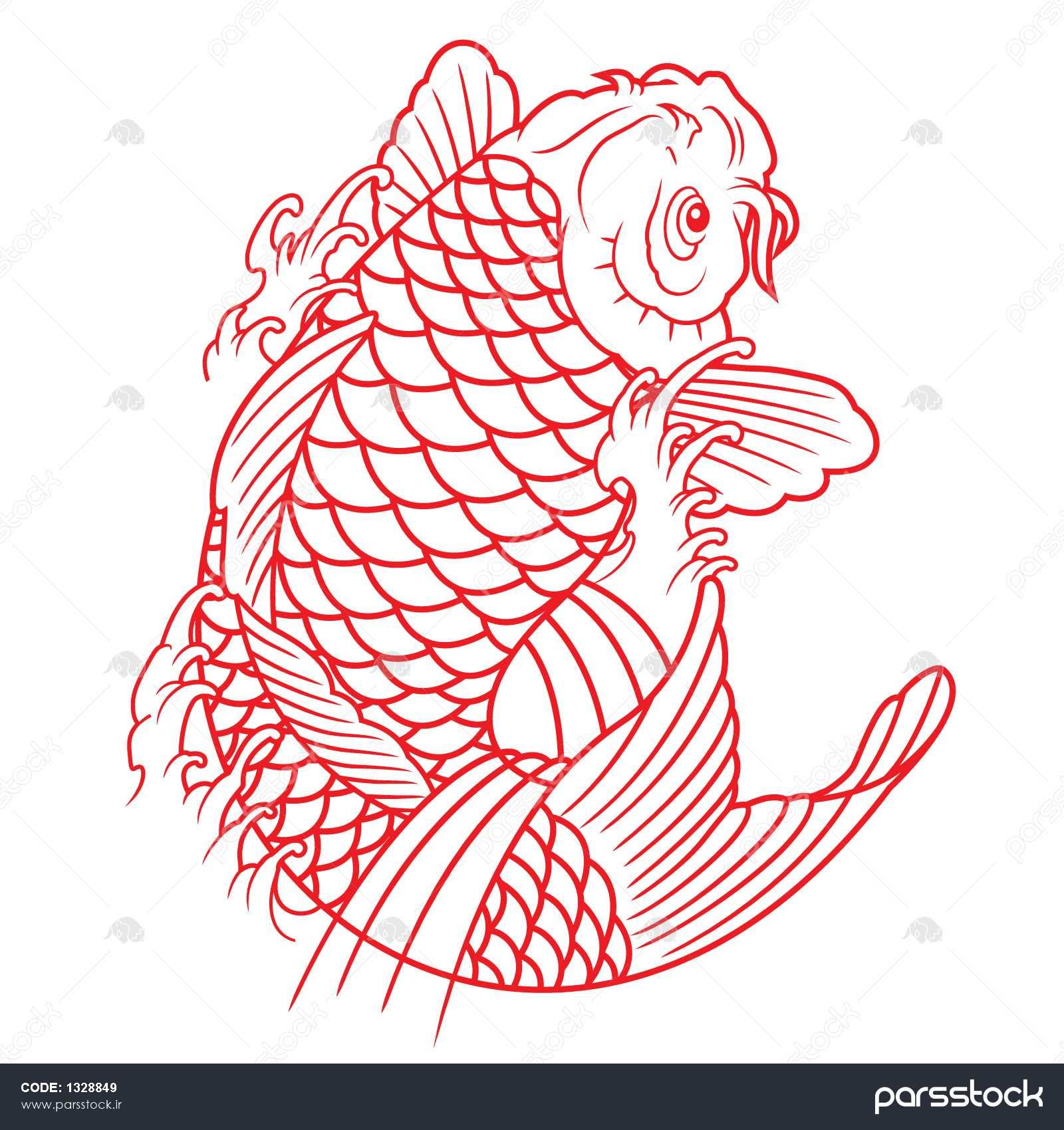 outline drawings of fish