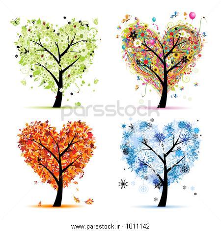 چهار فصل - بهار، تابستان ، پاییز، زان. درخت هنر شکل قلب ...