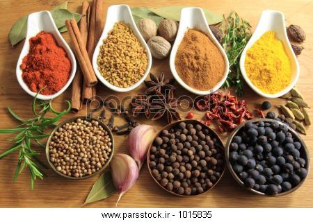 انتخاب ادویه جات ترشی جات مختلف. مواد غذایی و معطر. عناصر غذاهای ...