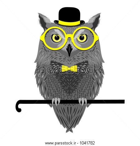 پرنده برداری، جغد در شیشه های زرد ، کلاه لبهدار ، پاپیون وکتور ...پرنده برداری، جغد در شیشه های زرد ، کلاه لبهدار ، پاپیون