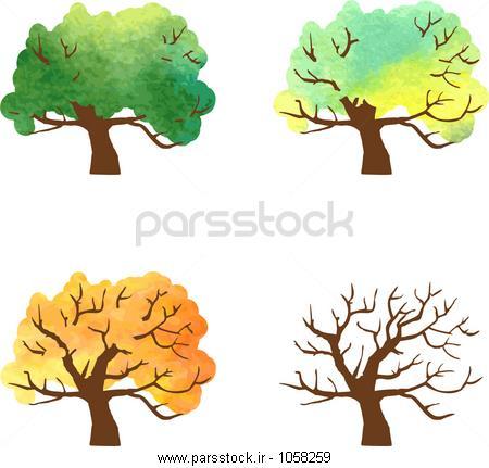 تغییرات پاییز درخت در نقاشی های آبرنگ، چهار فصل از درخت ...