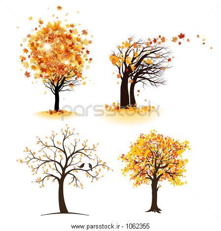 پاییز مجموعه ای درخت وکتور لایه باز 113281273 : پارس استاک ...