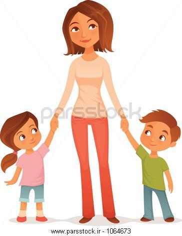 شب بخیر تلگرامی عکس کارتونی مادر و پدر و بچه