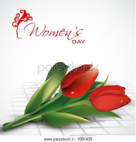 طراحی کارت پستال های زیبا برای جشن روز مبارک زنان با گل رز قرمز زیبا در زمینه سفید.