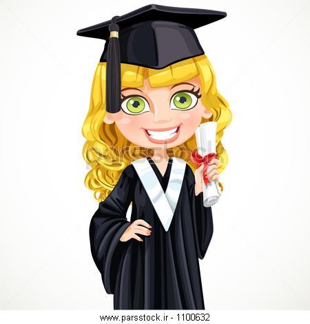 عکس کارتونی دختر فارغ التحصیل
