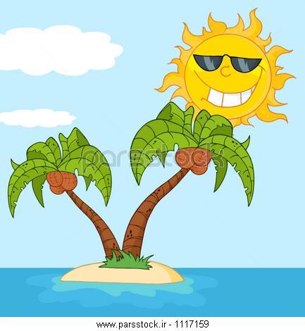 نقاشی درخت نخل جزیره با دو نخل درخت و کارتون خورشید وکتور لایه باز ...