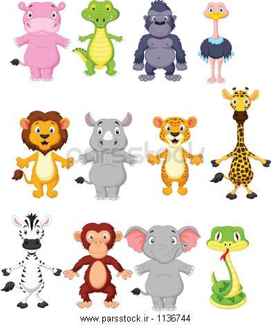 اسم خنده دار برای عروسک کارتون حیوانات وحشی وکتور لایه باز 62711697 : پارس استاک ...