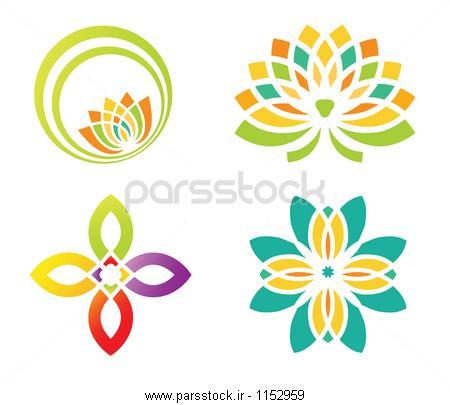 مجموعه ای از چهار گل طراحی عناصر برای طراحی لوگو وکتور لایه باز ...مجموعه ای از چهار گل طراحی عناصر برای طراحی لوگو