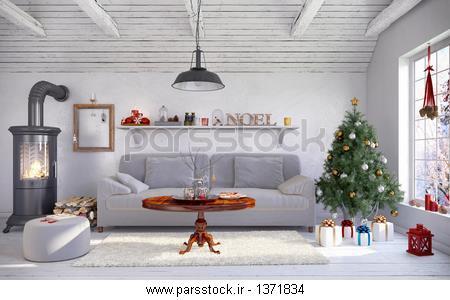 Skandinavisches nordisches Wohnzimmer einem mit مبل Kamin und ...