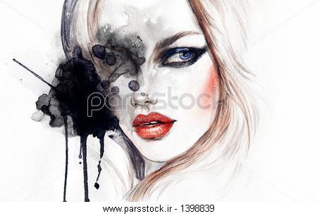 تصویر اب  زن چهره زن چهره تصویر مد نقاشی آبرنگ عکس 532002970 : پارس ...
