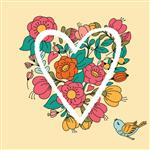 Illustration with flower heart Can be used for wedding invitation card for Valentine