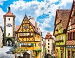 منظره زیبا از شهر تاریخی Rothenburg ob der Tauber Franconia Bavaria Germany