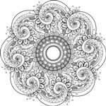 Vector Beautiful Deco Monochrome Contour Mandala Element Design Element قومیت قومی